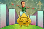 Illustrative image of businessman balancing himself on bull representing profit in bullish market