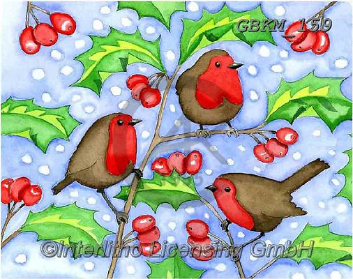 Kate, CHRISTMAS SYMBOLS, WEIHNACHTEN SYMBOLE, NAVIDAD SÍMBOLOS, paintings+++++Christmas page 48 1,GBKM159,#xx# ,red robin