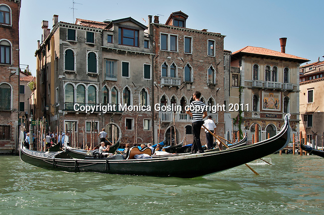 Gondolas in Venice, Italy on the Grand Canal