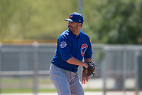 Chicago Cubs relief pitcher Brian Duensing (32) during a Minor League Spring Training game against the Oakland Athletics at Sloan Park on March 19, 2018 in Mesa, Arizona. (Zachary Lucy/Four Seam Images)