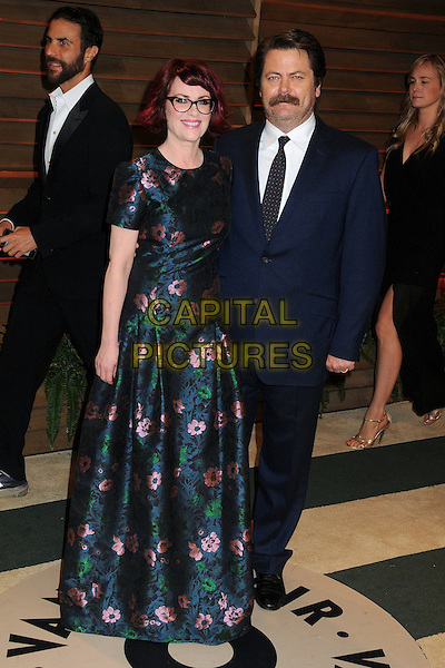 02 March 2014 - West Hollywood, California - Megan Mullally, Nick Offerman. 2014 Vanity Fair Oscar Party following the 86th Academy Awards held at Sunset Plaza.<br /> CAP/ADM/BP<br /> &copy;Byron Purvis/AdMedia/Capital Pictures