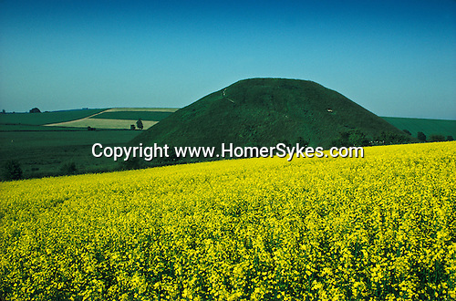 Silbury Hill. Avebury Wiltshire, England.  The largest prehistoric manmade mound in Europe.