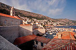 Croatia, Dubrovnic, Dalmatian Coast, historic Venetian harbor, architecture, yachts, sailboats, Adriatic Sea, Europe,..