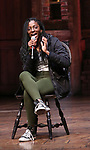 """Johanna Moise during the Q & A before The Rockefeller Foundation and The Gilder Lehrman Institute of American History sponsored High School student #EduHam matinee performance of """"Hamilton"""" at the Richard Rodgers Theatre on 4/03/2019 in New York City."""