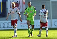 Fußball 3. Liga 2013/14 - Rasenballsport Leipzig (RB) gegen SSV Jahn Regensburg am 19.10.2013 in Leipzig (Sachsen). <br /> IM BILD v.l.: Fabian Franke (RB), Torwart Fabio Coltorti (RB), Sebastian Heidinger (RB) <br /> Foto: Christian Nitsche / aif