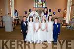 Pupils from S.N. Cillian Liath who made their First Communion on Saturday in Our Lady of the Valley Church, Dromid were front l-r;Ryan Ó Conchúir, Rhia Ní Churráin, Sarah Ní Shé, Amy Ní Churráin, Eimer Ní Dhálaigh, Jack Ó Suilleabháin, back l-r; Fr Gerard Finunane & Karyna Ní Chorcaire(Teacher).
