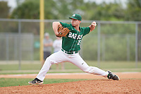 Babson Beavers relief pitcher Nicolas Parente (16) during a game against the Edgewood Eagles on March 18, 2019 at Lee County Player Development Complex in Fort Myers, Florida.  Babson defeated Edgewood 23-7.  (Mike Janes/Four Seam Images)
