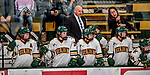9 February 2018: University of Vermont Women's Ice Hockey Catamount Head Coach Jim Plumer and Associate Head Coach Jess Koizumi work behind the bench during a game against the University of Connecticut Huskies at Gutterson Fieldhouse in Burlington, Vermont. The Lady Cats defeated the Huskies 1-0 the first game of their weekend Hockey East series. Mandatory Credit: Ed Wolfstein Photo *** RAW (NEF) Image File Available ***