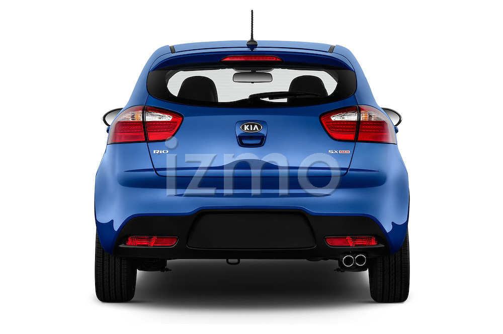 Straight rear view of 2015 KIA Rio AT SX 5 Door Hatchback 2WD Rear View  stock images
