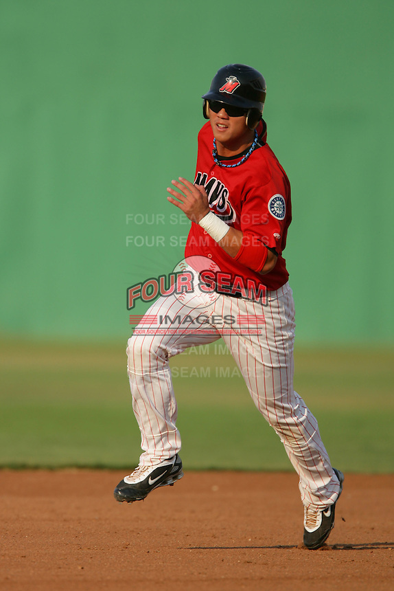 September 7 2009:  Kuo Hui Lo of the High Desert Mavericks during game against the Modesto Nuts at Maverick Stadium in Adelanto,CA.  Photo by Larry Goren/Four Seam Images