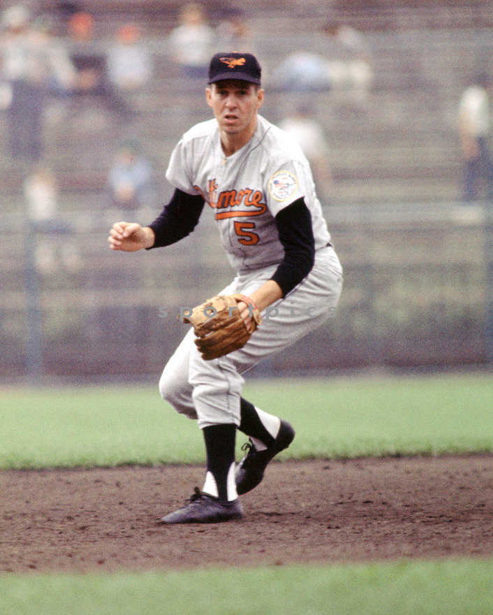 Baltimore Orioles Brooks Robinson (5) during a game from his 1964 season. Brooks Robinson played for 21 years all with the Baltimore Orioles and was a 16-time All-Star, American League MVP in 1964, and was inducted to the Baseball Hall of Fame in 1983.(SportPics)