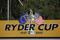 Straffin Co Kildare Ireland. K Club Ruder Cup...A ryder cup display in the fairways alone the K Club golf course...Photo: Fran Caffrey/ Newsfile..