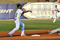 Tennessee Smokies second baseman Arismendy Alcantara #7 completes the front end of a double play during a game against the Chattanooga Lookouts  at Smokies Park on April 10, 2013 in Kodak, Tennessee. The Lookouts won 6-2. (Tony Farlow/Four Seam Images).