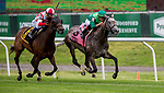 June 7, 2019 : #8, Homerique, ridden by jockey Irad Ortiz, Jr., wins the New York on Belmont Stakes Festival Friday at Belmont Park in Elmont, New York. Kaz Ishida/Eclipse Sportswire/CSM