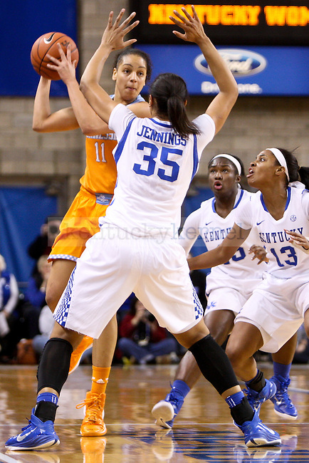 Kentucky forward Alexis Jennings tries to stop Tennessee forward Cierra Burdick during the first half of the UK Hoops versus Tennessee basketball game at Memorial Coliseum in Lexington , Ky., on Thursday, January 29, 2015. Photo by Jonathan Krueger | Staff