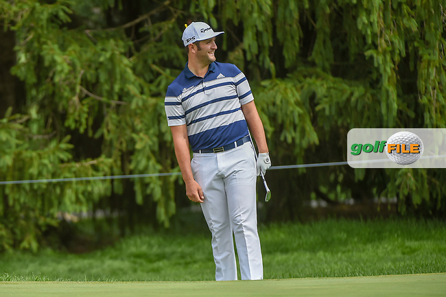 Jon Rahm (ESP) reacts to chipping in from off the green on 15    during 1st round of the World Golf Championships - Bridgestone Invitational, at the Firestone Country Club, Akron, Ohio. 8/2/2018.<br /> Picture: Golffile   Ken Murray<br /> <br /> <br /> All photo usage must carry mandatory copyright credit (© Golffile   Ken Murray)