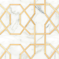 Collins, a waterjet stone mosaic, shown in honed Calacatta Gold and Brass, is part of the Trove collection for New Ravenna.
