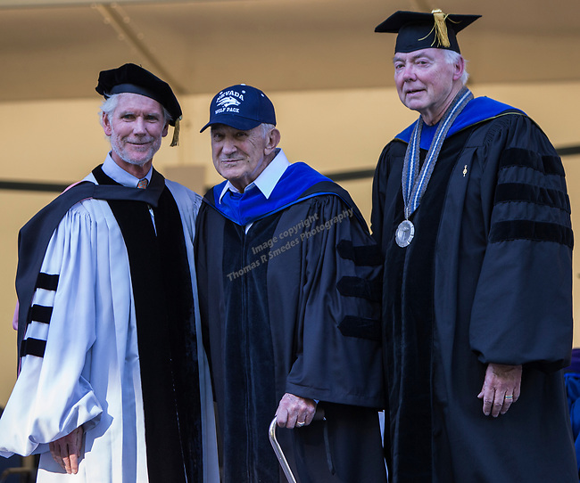 Don Carano, center, is honored by Regent Rick Trachok, left and President Marc Johnson during the University of Nevada College of Agriculture, Biotechnology & Natural Resources and College of Education graduation ceremony on Friday evening, May 19, 2017.