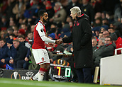 7th December 2017, Emirates Stadium, London, England; UEFA Europa League football, Arsenal versus BATE Borisov; Arsenal manager Arsene Wenger shakes Theo Walcott of Arsenal hand after being subbed off for Reiss Nelson of Arsenal