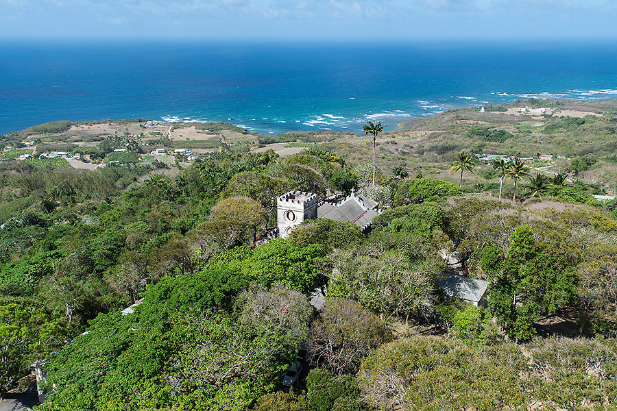 Aerial view of St. John's Parish Church, Barbados
