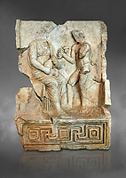 Roman Sebasteion relief  sculpture of Nysa and baby Dionysus Aphrodisias Museum, Aphrodisias, Turkey.  Against a grey background.<br /> <br /> The nymph Nysa has the baby Dionysus on her lap. He reaches out to a bunch of grapes held up by a satyr, one of his woodland followers. Dionysus was the son of Zeus by Semele, and was given the nymphs of Mt Nysa for an upbringing in the wilds, safe from the eyes of Hera, Zeus's wife. Nysa was located in the Meander Valley, near Aphrodisias: the story was local.
