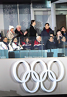 South Korean President Moon Jae (l) alongside his wife Kim Jung-sook, German President Frank-Walter Steinmeier and his wife Elke Buedenbender (back row) watch the opening ceremony of the Winter Olympics in Pyeongchang, South Korea, 9 February 2018. Photo: Michael Kappeler/dpa /MediaPunch ***FOR USA ONLY***