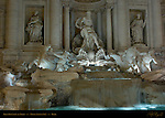 Trevi Fountain detail at night Nicola Salvi Rome