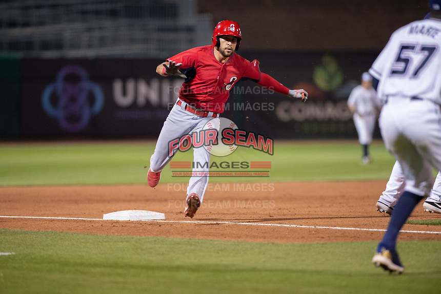 Springfield Cardinals outfielder Dylan Carlson (8) holds up a third on May 16, 2019, at Arvest Ballpark in Springdale, Arkansas. (Jason Ivester/Four Seam Images)