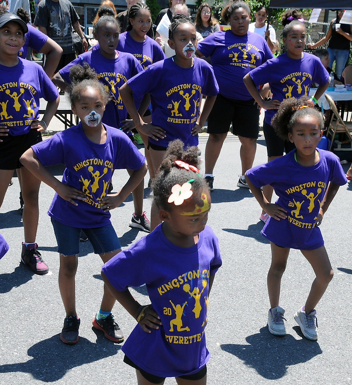 The Kingston Cuties of the Everette Hodge Community Center performing at the 11th Annual Mid-town Make a Difference Day Celebration on Franklin Street, in Kingston, NY on Saturday, June  18, 2016. Photo by Jim Peppler. Copyright Jim Peppler 2016.
