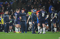Gregor Townsend, Scotland Head Coach, commiserates with Byron McGuigan at the end of the Guinness Six Nations Calcutta Cup match between England and Scotland at Twickenham Stadium on Saturday 16th March 2019 (Photo by Rob Munro/Stewart Communications)