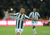 MEDELLIN - COLOMBIA -05 -12-2015: Gilberto Garcia, jugador de Atletico Nacional, celebra el gol anotado a Deportivo Cali, durante partido de vuelta por los cuartos de final entre Atletico Nacional y Deportivo Cali, de la Liga Aguila II-2015, en el estadio Atanasio Girardot de la ciudad de Medellin.  / Gilberto Garcia, player of Atletico Nacional, celebrates a scored goal to Deportivo Cali, during a match between Atletico Nacional and Deportivo Cali, for the second leg for the cuarter finals of the Liga Aguila II 2015 at the Atanasio Girardot stadium in Medellin city. Photo: VizzorImage. / Leon Monsalve / Str.
