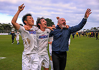 From left, Auckland City's Takuya Iwaka, Albert Riera and Simone Naddi celebrate victory after the Oceania Football Championship final (second leg) football match between Team Wellington and Auckland City FC at David Farrington Park in Wellington, New Zealand on Sunday, 7 May 2017. Photo: Dave Lintott / lintottphoto.co.nz