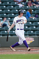 Zack Collins (8) of the Winston-Salem Dash follows through on his swing against the Buies Creek Astros at BB&T Ballpark on April 15, 2017 in Winston-Salem, North Carolina.  The Astros defeated the Dash 13-6.  (Brian Westerholt/Four Seam Images)
