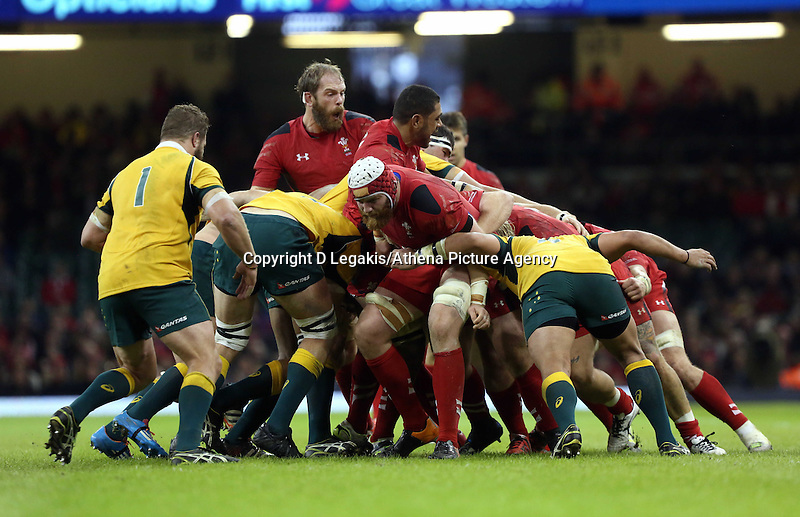Pictured: Wales' Jake Ball in the centre of a scrum between Wales and Australia players. Saturday 08 November 2014<br />