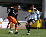 Leon Clarke of Sheffield Utd in a action with Kiko of Port Vale during the English League One match at Vale Park Stadium, Port Vale. Picture date: April 14th 2017. Pic credit should read: Simon Bellis/Sportimage