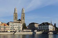 Großmünster, Helmhaus und Wasserkirche, Zürich, Schweiz