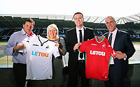 Pictured L-R: Leigh Dineen, CHECK NAME, Paul Fox, CEO of Letou with Chris Pearlman, COO of Swansea City FC. Monday 19 June 2017<br />Re: Swansea City FC launch their new home and away kits and announce Letou as their new sponsor at the Liberty Stadium, Swansea, Wales, UK.