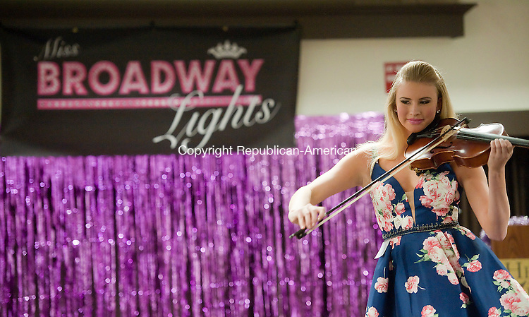 SOUTHBURY, CT--- -011716JS03--Olivia Burt, 15, of Farmington, plays the violin during the Miss Broadway Lights Pageant held Sunday at the Heritage Hotel and Conference Center on Southbury. Burt overall beauty winner. <br />   Jim Shannon Republican-American