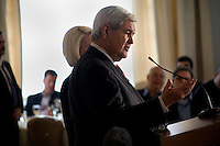 Accompanied by his wife Callista, Newt Gingrich speaks to the Nashua Rotary Club at the Nashua Country Club in Nashua, New Hampshire, on Jan. 9, 2012.  Gingrich is seeking the 2012 Republican presidential nomination.