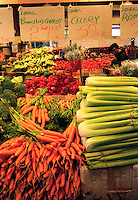FRUITS &amp; VEGETABLES: FARMERS MARKET<br /> (Variations Available)<br /> Fresh Carrots, Celery And Peppers On Display<br /> Vegetables provide vitamin A, vitamin C, fiber and other nutrients.  The deeper the color, the richer the nutrient content.