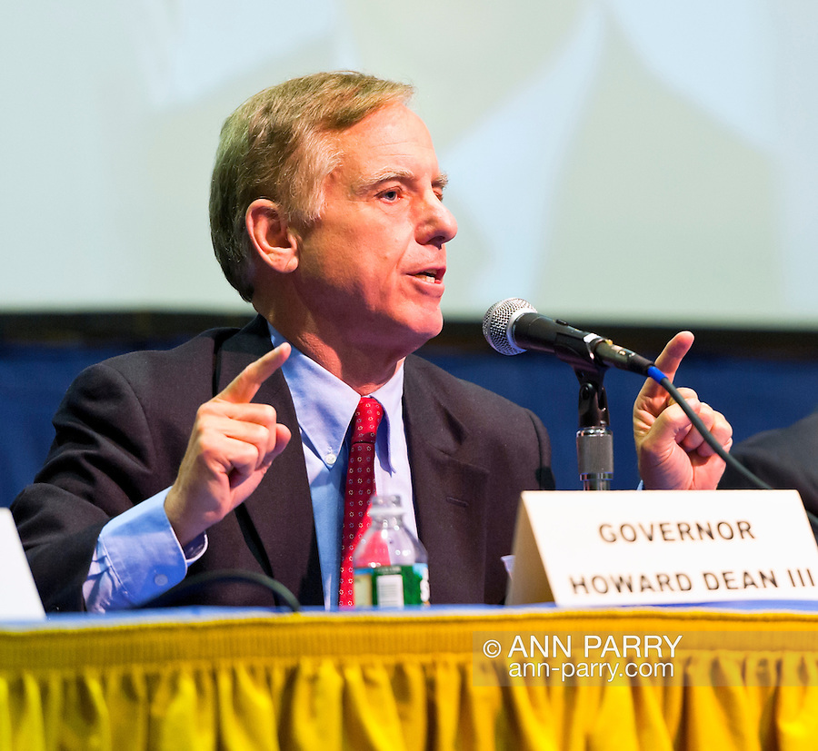 """Governor Howard B. Dean III is a panelist at """"Change in the White House? Comparing the George W. Bush and Barack Obama Presidencies"""" on Thursday, April 19, 2012, at Hofstra University, Hempstead, New York, USA. Hofstra's event was part of """"Debate 2012: Pride, Politics and Policy"""" which leads up to the Presidential Debate Hofstra is hosting on October 15, 2012. Governor Howard B. Dean III, is a former Democratic National Committee Chairman, presidential candidate, six term Governor of Vermont, and physician."""
