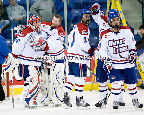 Carter Hutton (Lowell - 30), Nevin Hamilton (Lowell - 1), Ben Holmstrom (Lowell - 21), Scott Campbell (Lowell - 15), Joe Caveney (Lowell - 14) - The University of Massachusetts-Lowell River Hawks defeated the University of New Hampshire Wildcats 6-3 on Sunday, November 8, 2009, at Tsongas Arena in Lowell, Massachusetts.