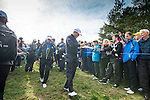 Englishman Lee Westwood signs autographs as he makes his way to the 8th tee during a practice session at Gleneagles Golf Course, Perthshire. Photo credit should read: Kenny Smith/Press Association Images.