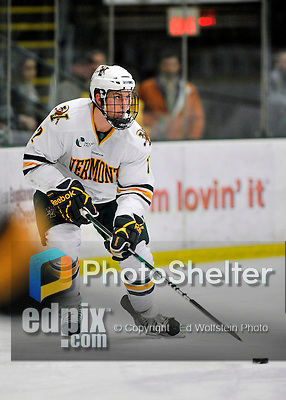 3 December 2011: University of Vermont Catamount defenseman Drew MacKenzie, a Senior from New Canaan, CT, in first period action against the University of Maine Black Bears at Gutterson Fieldhouse in Burlington, Vermont. The Catamounts fell to the Black Bears 5-2 in the second game of their 2-game Hockey East weekend series. Mandatory Credit: Ed Wolfstein Photo