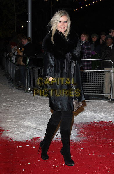 AMANDA WAKELEY.The Dickensian Ball, Harrods, Hans Crescent, Knightsbridge, London, England..December 1st 2010.full length black fur coat gloves otk boots .CAP/ROS.©Steve Ross/Capital Pictures