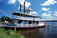 stern-wheeler, Chautauqua Lake, NY, New York, Mayville, Chautauqua Belle a replica of a steam-powered stern-wheeler is docked on the waterfront of Chautauqua Lake.