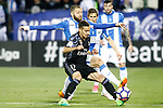 CD Leganes' David Timor (t) and Real Madrid's Lucas Vazquez during La Liga match. April 5,2017. (ALTERPHOTOS/Acero)