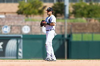 Glendale Desert Dogs second baseman Laz Rivera (8), of the Los Angeles Dodgers organization, during an Arizona Fall League game against the Mesa Solar Sox at Camelback Ranch on October 15, 2018 in Glendale, Arizona. Mesa defeated Glendale 8-0. (Zachary Lucy/Four Seam Images)