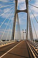 The Pont Tarascon Beaucaire Bridge completed in 2000. Cable-stayed bridge, H-pylon, semi-fan arrangement, Designed by Michel Virlogeux, architect: Charles Lavigne, Between Tarascon, Bouches-du-Rhone (13), Provence-Alpes-Cote d'Azur, France and Beaucaire, Gard (30), Languedoc-Roussillon, France Saint Remy Rémy de Provence, Bouches du Rhone, France, Europe