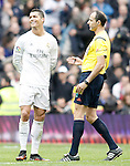 Real Madrid's Cristiano Ronaldo have words with the referee Alfonso Javier Alvarez Izquierdo during La Liga match. February 13,2016. (ALTERPHOTOS/Acero)